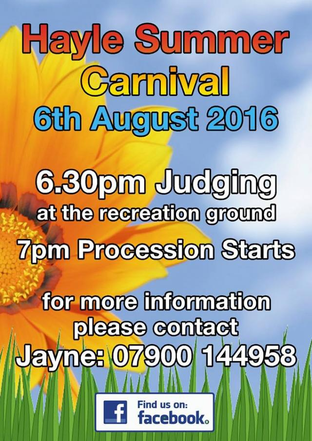 Hayle Summer Carnival Sat 6 Aug 2016